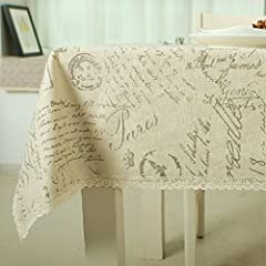 ColorBird Shabby Chic Cotton Linen Tablecloth Letter Printed Macrame Lace Dustproof Table Cover for Kitchen Dinning Pub Tabletop Decoration (Rectangle/Oblong, 55
