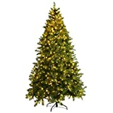Goplus Pre-Lit Christmas Tree Artificial PVC Spruce Hinged with 700 LED Lights and Solid Metal Legs