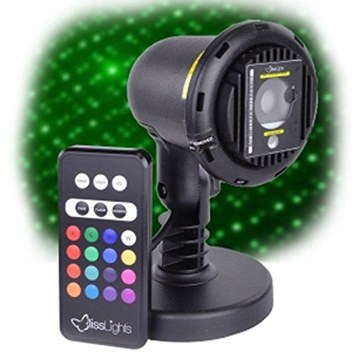 Blisslights Spright COLOR Green Laser with 16 color LED Accent Lighting with yard stake and indoor stand options