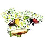 Langsprit Premium Reusable Sandwich & Snack Bags- Eco Friendly Dishwasher Safe Lunch Bags - Set of 3 - (Cactus)
