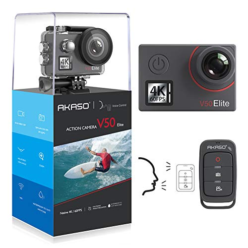 AKASO V50 Elite 4K/60fps 20MP WiFi Action Camera Voice Control EIS 40m Waterproof Camera Adjustable View Angle 8X Zoom Remote Control Sports Camera with Helmet Accessories Kit