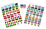 "Made in USA! 100 Stickers Representing The 2019 Women's World Cup Teams; 1.5"" x 1"" Self Adhesive World Flag Stickers, Two Sheets of 50 Showcasing 4 Stickers for Each Team Plus 4 Soccer Ball Stickers"