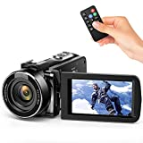 Andoer Video Camera Camcorder, Digital Camera Recorder FHD 1080P Portable Camera Infrared Night Vision 3.0' Rotating LCD Screen 16X Digital Zoom 24MP with Remote Control, 1 Batterie