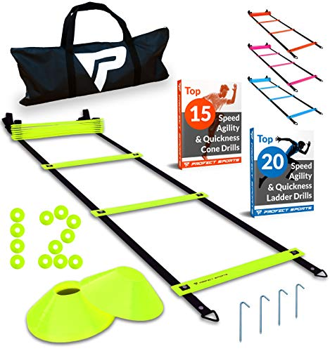 Pro Agility Ladder and Cones - 15 ft Fixed-Rung Speed Ladder with 12 Disc Cones for Soccer, Football, Sports Training - Includes Heavy Duty Carry Bag, 4 Metal Stakes, 2 Agility Drills eBooks (Yellow)