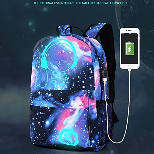 Luminous Star Sky Printed Shoulders Bag with USB Fashion Casual Daypack Backpacks Trendy Galaxy Pattern Backpack Cute Christmas Black Friday New Year's Day night for School or Travel (Sky blue)
