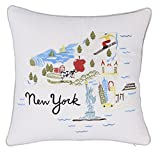 DecorHouzz Pillow Covers Newyork State/City Map Pillowcase embroidered cushion cover Birthday Gift Anniversary Gift Graduation Gift New home Gift 18'x18' (Newyork)