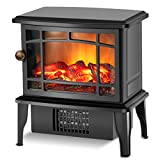 Infrared Fireplace Heater - Electric Fireplace Stove w/Fast Heating System, Portable Space Heater for Room with Realistic 3D Fake Fireplace Flame, Overheat Tip-Over Protection for Office Indoor Use