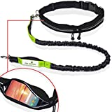 Paw Lifestyles Retractable Hands Free Dog Leash W/Smartphone Pouch - Dual Handle Bungee Waist Leash for Up to 150 lbs Large Dogs