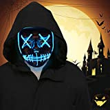 FLY2SKY Halloween Mask Light Up Toys 1PCS Blue LED Light Up Mask LED Mask Glowing Mask Frightening Luminous Halloween Cosplay LED Purge Mask for Festival Entertainment Halloween Party Favors for Kids