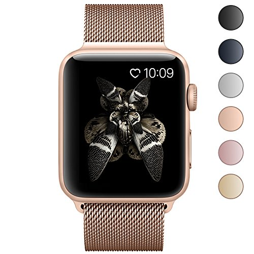 Lelong for Apple Watch Band,Milanese Loop Fully Magnetic Clasp Stainless Steel Mesh iWatch Band for Apple Watch Series 3 Series 2 Series 1 Sport & Edition- 38mm Champagne Gold
