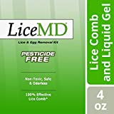 LiceMD Head Lice Treatment- Liquid Gel and Lice Comb Eliminates 100% of Lice & Their Eggs, Pesticide Free & Non-Toxic Hair Conditioner, 4 oz. (Pack of 3)