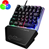 RGB One Hand Keyboard, Jancal Gaming Keyboard Single-Handed ith 35 Keys for PS4/Xbox/PC, Portable Mini Left Hand Keypad RGB Backlit/Macro Definition, Wired USB Mobile Game Half Keyboard – US Layout