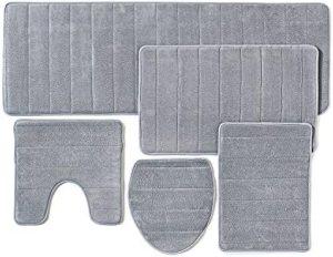 Over the Floor Bathroom Rug Mat, 5-Piece Set Memory Foam, Extra Soft Non-Slip Back (Gray)