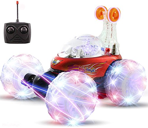 Haktoys HAK101 Red Invincible Tornado Acrobatic Stunt RC Car, Radio-Controlled Rechargeable Vehicle with Flashing LED Lights & Music Switch, Safe & Durable, Gift for Kids, Boys & Girls