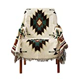 PHNAM Throw Blanket with Fringe for Couch Bed Soft Decorative Cozy Cotton Woven Knit Warm Bed Throws Reversible for Chair, Sofa, Living Room, Bedroom (51x63 inches)(B)
