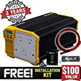 Krieger 4000 Watt 12V Power Inverter, Dual 110V AC outlets, Installation Kit Included, Back Up Power Supply for Large Appliances, MET Approved According to UL and CSA Standards