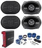 (4) Hifonics ZS693 6x9 1600 Watt Car Audio Speakers+4-Channel Amplifier+Amp Kit