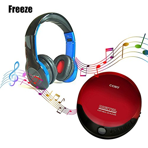 Coby portable compact CD player With bonus I-kool Freeze series Ultimate bass Wired headphones (Black)