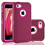 FOGEEK iPhone 5C Case, Dual Layer Anti Slip 360 Full Body Cover Case PC and TPU Shockproof Protective Compatible for Apple iPhone 5C ONLY (Wine Red)