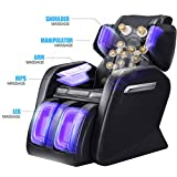Massage Chair Recliner, Zero Gravity Full Body Shiatsu Luxurious Electric Massage Chair with Stretched mode Heating back and Foot Rollers Massage Therapy (Black)