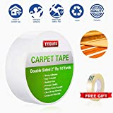 YYXLIFE Double Sided Carpet Tape for Area Rugs Carpet Adhesive Rug Gripper Removable Multi-Purpose Rug Tape Cloth for Hardwood Floors,Outdoor Rugs,Carpets.Heavy Duty Sticky Tape,2Inch x 10 Yards,White