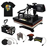 RoyalPress Professional 12' x 15' Color LED 360-degree Rotation Sublimation Heat Transfer 5 in 1 Multifunction Combo Heat Press Machine Hat/Mug/Plate/Cap/T-Shirt Black (12'x15' 5 in 1)