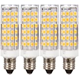LED E11 T4 Mini-Candelabra Light Bulb 6W 40W to 50W Halogen Replacement by Simba Lighting | 76SMD2835 Corn JDE11 120V for Chandeliers, Sconce, Cabinet Lighting, Soft White 3000K, Dimmable, Pack of 4
