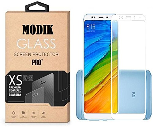 MODIK Mi Redmi 5 Tempered Glass Screen Protector Screen to Screen Fit 9H Hardness Bubble Free Anti-Scratch Crystal Clarity 3D Curved Screen Guard for Xiaomi Mi Redmi 5 - White (White) 141