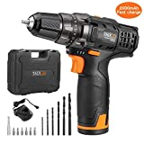 Tacklife 12V 2.0Ah Lithium-Ion Cordless Drill Driver Set - PCD01B 3/8-inch All-Metal Chuck 2-Speed Max Torque 239 In-lbs 19+1 Position with LED, 1 Hour Fast Charger, Father's Day Gift