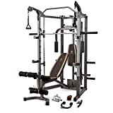 Marcy Smith Cage Machine with Workout Bench and Weight Bar Home Gym Equipment SM-4008