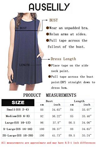 660d195a88a AUSELILY Women's Sleeveless Pockets Casual Swing T-Shirt Dresses