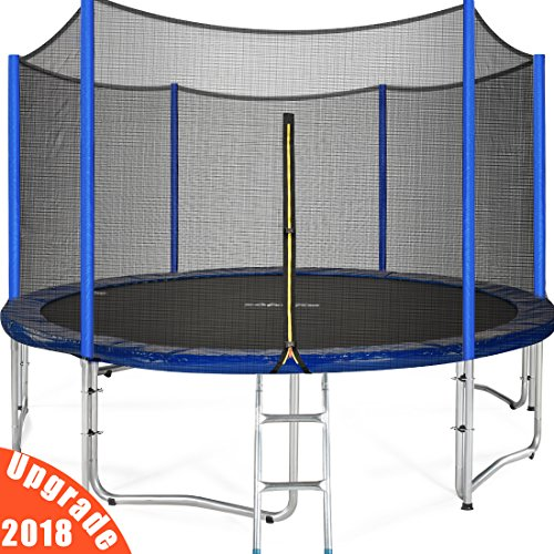Zupapa 15 14 12 FT TUV Approved Trampoline with Enclosure net and poles Safety Pad Ladder Jumping Mat Rain Cover