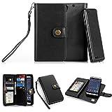 TabPow HTC Desire 530, 626, 626s Case, 10 Card Slot - ID Slot, Button Wallet Folio PU Leather Case Cover with Detachable Magnetic Hard Case for HTC Desire 530/ Desire 626/ Desire 626s - Black