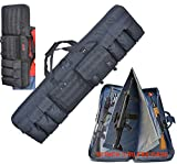 Explorer Target Double 3 Rifles Case 52' Length Padded Sniper Scoped Tactical Hunting Carrying Gun Shooting Mat, Adjustable Backpack Strap, Pistol and Magazine Pouch (Black 52 D52 Rifle case)