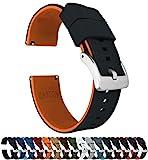 Barton Elite Silicone Watch Bands - Quick Release - Choose Strap Color & Width - Black/Pumpkin Orange 22mm
