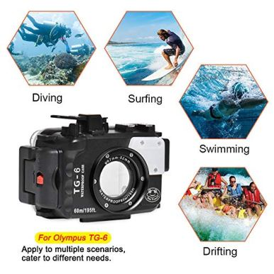 Seafrog-WPC-TG6-Waterproof-housing-case-Underwater-Diving-195FT60M-Works-for-Olympus-TG-6-Cameras-Black