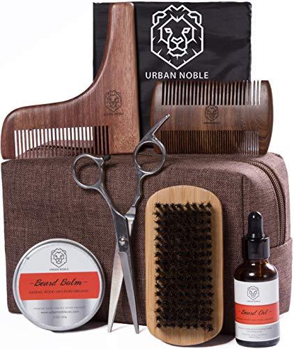 Beard Grooming Kit for Men Gift Set- Beard Oil Growth & Organic Balm For Man - Sandalwood Beard Comb -Beard Shaping Tool - Mens Black Beard Apron - Beard kit Gifts Set for Men/Fathers day, Valentines