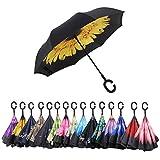 AWEOODS Inverted Umbrella Cars Reversible Umbrella (Yellow Purpurea)
