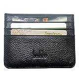 Boshiho Slim Wallet Genuine Leather Minimalist Thin Credit ID Card Holder 4 Card Slots Front Pocket Purse (Black)