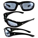 Birdz 4 Pair Motorcycle Riding Glasses Smoke Clear Yellow Light Blue Has Comfortable Vented EVA Foam Padding on the Entire Inside of the Glasses Plus Anti Fog Lenses