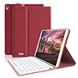 iPad Pro 10.5 Case with Keyboard, COO Detachable Wireless Keyboard Case for iPad Air 2019(3rd Gen) 10.5' /iPad Pro 10.5 2017 - Ultra Slim PU Leather,Multi-Angle Stand(Wine Red with White Keyboard)