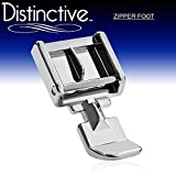 Distinctive Zipper Sewing Machine Presser Foot - Fits All Low Shank Snap-On Singer, Brother, Babylock, Euro-Pro, Janome, Kenmore, White, Juki, New Home, Simplicity, Elna and More!
