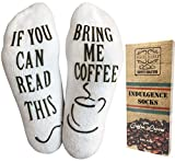 """""""If You Can Read This, Bring Me."""" (Wine, Chocolate, Coffee) Footie Socks in Luxurious Combed Cotton for Women and Men – the Perfect Gift for Christmas, Birthdays, or Holidays (Coffee)"""