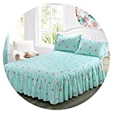 Classic Single Layer Skirt Non-Slip Sheet Cover Bed Sheet Room Decoration Flower Printing Bedspread Pillowcase 3pcs,10,150x200CM