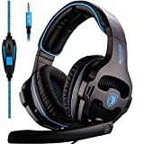 SADES SA810 Stereo Gaming Headset for Xbox One, PS4, PC, Controller, Surround Sound Over-Ear Headphones with Noise Cancelling Mic, Light Weight Design Volume Control for Laptop Mac Computer