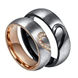 ROWAG 6MM Men Heart Shape Titanium Stainless Steel Couple Wedding Rings for Him and Her Women Cubic Zirconia CZ Inlaid Promise Engagement Bands,Women Size 5