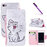 iPod Touch 6th Case,iPod Touch 5th Case,LEECOCO Fancy Print Floral Wallet Case with Card / Cash Slots [Kickstand] PU Leather Folio Flip Protective Case Cover for iPod Touch 6th / 5th Smile Cat