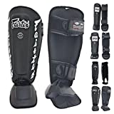 Fairtex Shin Guard Protector SP1, SP3 Double Padded Pro, SP5, SP6 Neoprene, SP7 'Twister' Detachable In-Step Color Black Blue Red White for Protection in Muay Thai, Boxing, Kickboxing (SP7 Twister Black,M)