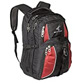 Exos Backpack, (laptop, travel, school or business) Urban Commuter by (Black with Red Trim)