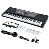 ADM 61 Key Electronic Keyboard Piano Beginner SuperKit with Microphone, Keyboard Sticker, Power Supply, Black